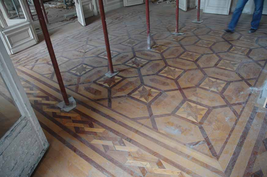 Lot of 22.5 m2 of antique mahogany inlaid parquet, burr walnut root and sycamore-2