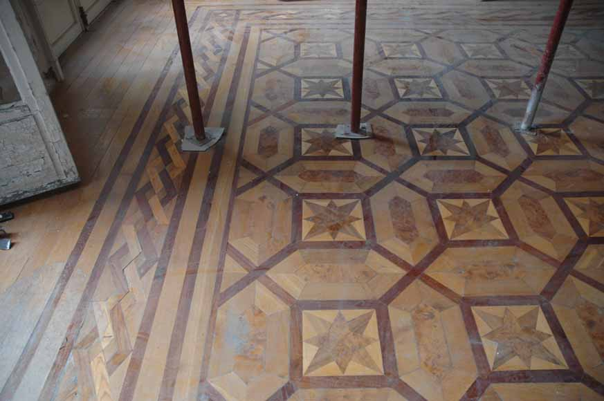 Lot of 22.5 m2 of antique mahogany inlaid parquet, burr walnut root and sycamore-4