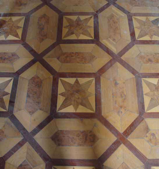Lot of 22.5 m2 of antique mahogany inlaid parquet, burr walnut root and sycamore-5