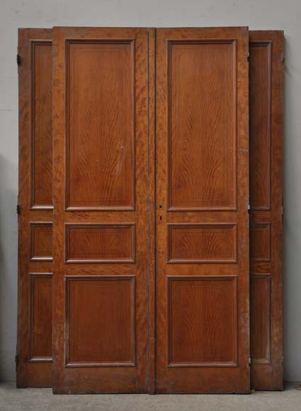 One double-door and two doors made out of mahogany with marquetry frieze decoration-0
