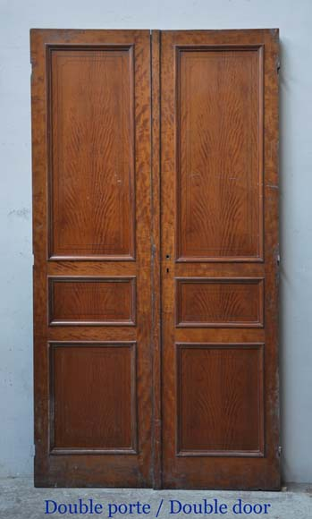 One double-door and two doors made out of mahogany with marquetry frieze decoration-1