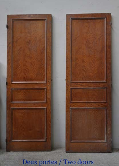 One double-door and two doors made out of mahogany with marquetry frieze decoration-2