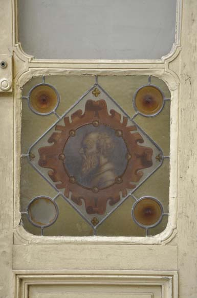 Double door with stained glass windows,  man and woman's profile in medallion-3