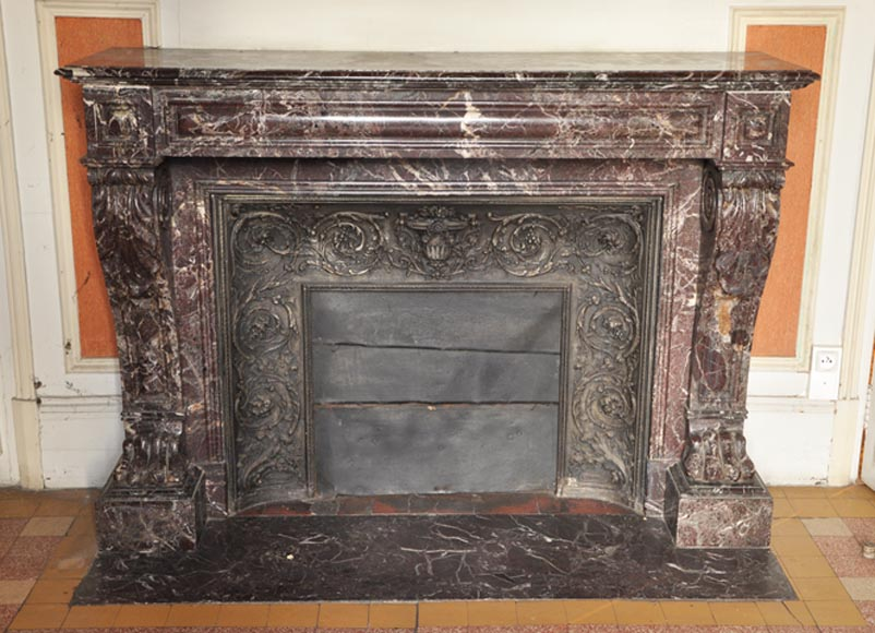 Antique Napoleon III period fireplace in Levanto Red marble - Reference 2143
