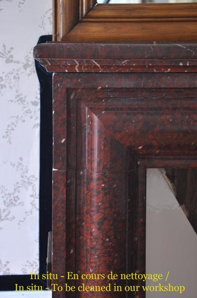 Antique Louis XIV style fireplace made out of Griotte Red marble-3
