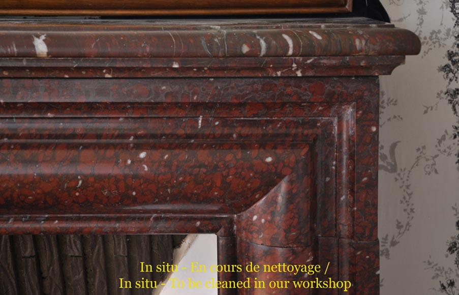 Antique Louis XIV style fireplace made out of Griotte Red marble-6