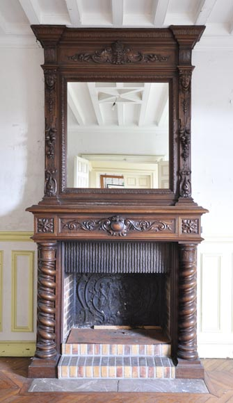 Antique walnut fireplace with Satyr mask-0