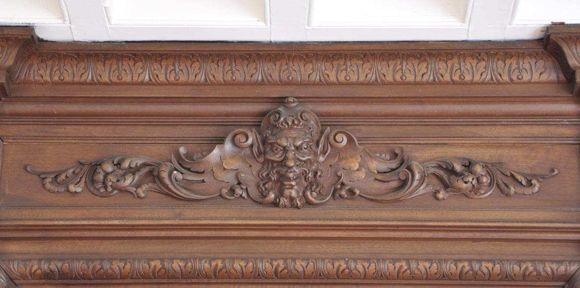 Antique walnut fireplace with Satyr mask-2