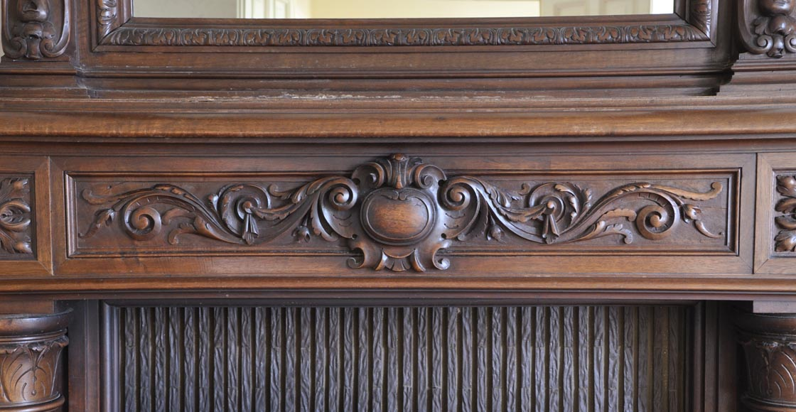 Antique walnut fireplace with Satyr mask-5
