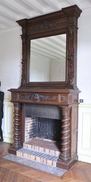 Antique walnut fireplace with Satyr mask-6
