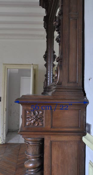 Antique walnut fireplace with Satyr mask-9