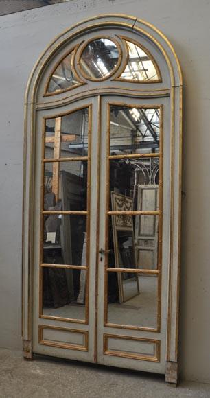 Antique Arched Double Door With Mercury Mirror Pannels Doors