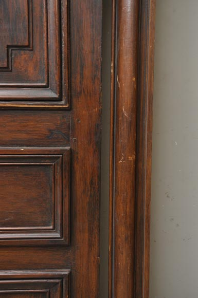 Antique oak and beech wood double door with original frame for Wooden back door and frame