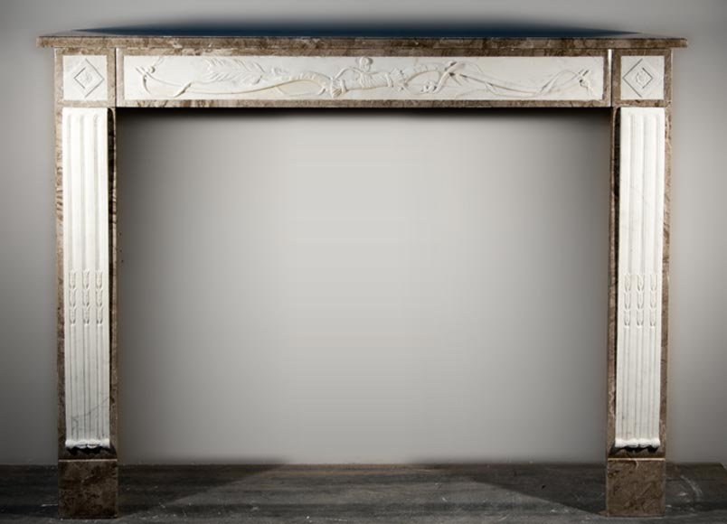 Antique Directoire style fireplace made out of marble with sculptures in Statuary Carrara marble with quiver-0