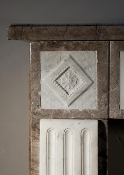 Antique Directoire style fireplace made out of marble with sculptures in Statuary Carrara marble with quiver-5