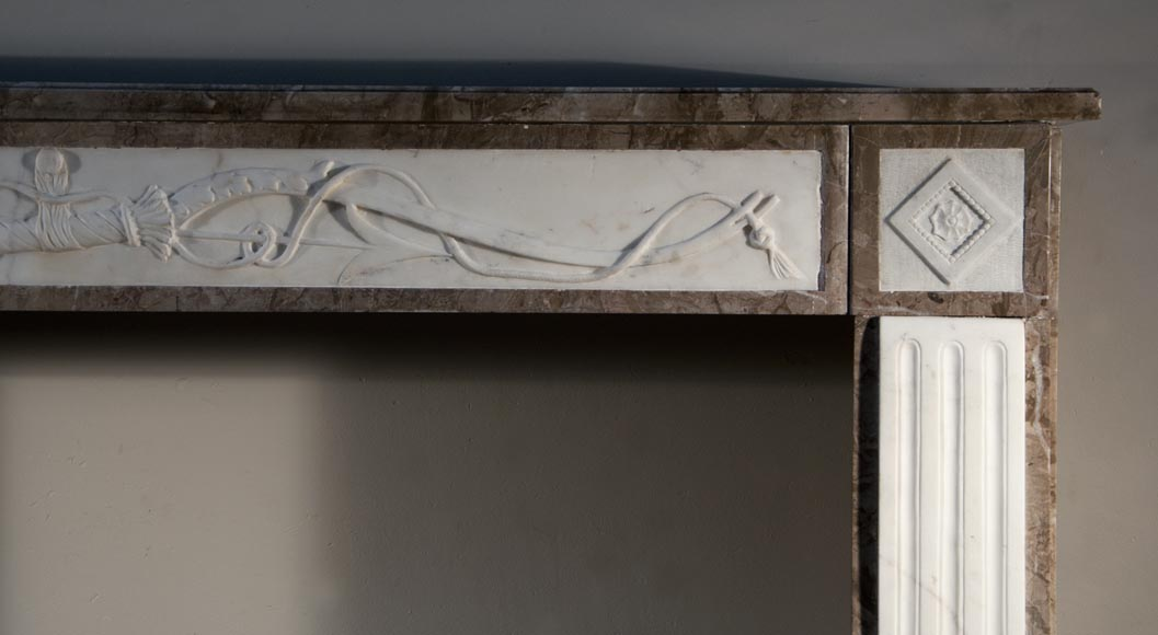 Antique Directoire style fireplace made out of marble with sculptures in Statuary Carrara marble with quiver-8