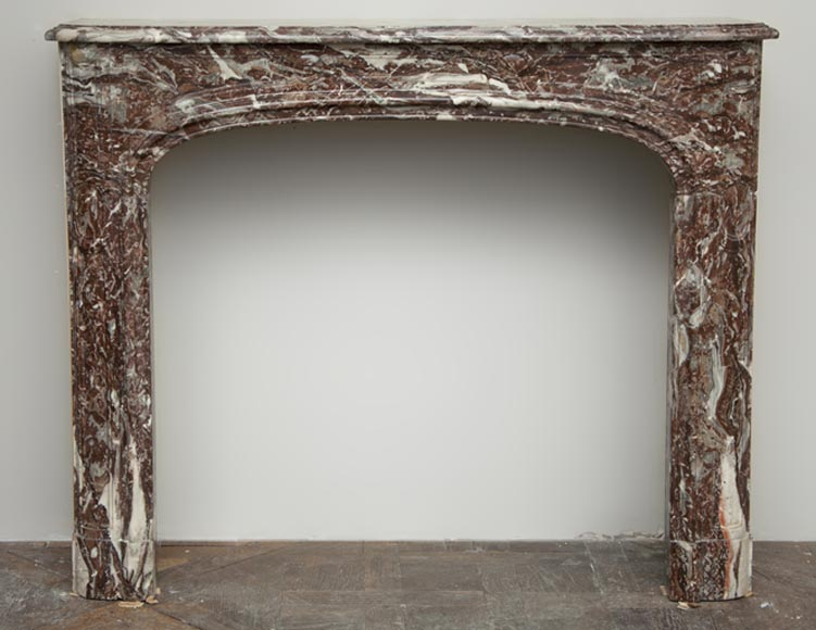 Antique Regence period fireplace made out of Red of Rance marble from the 18th century-0