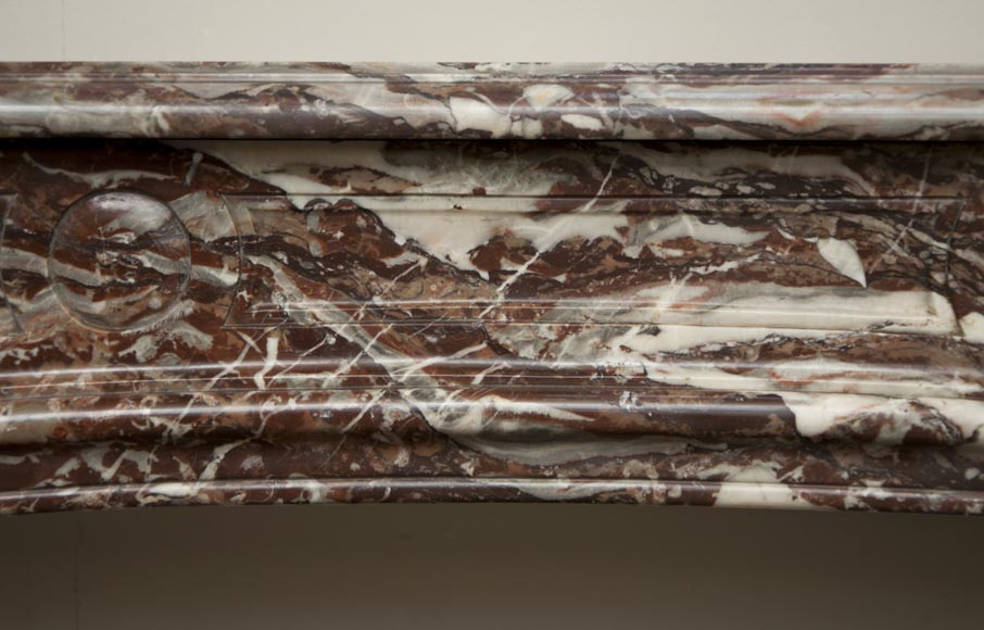 Antique Regence period fireplace made out of Red of Rance marble from the 18th century-1