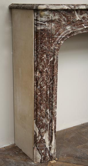 Antique Regence period fireplace made out of Red of Rance marble from the 18th century-2