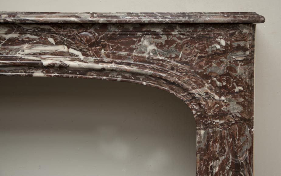 Antique Regence period fireplace made out of Red of Rance marble from the 18th century-6