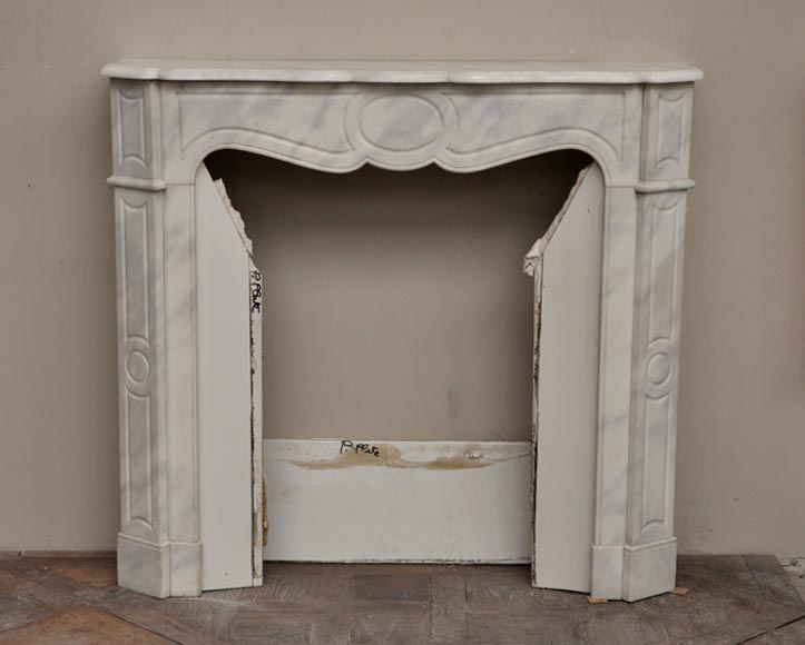 Antique Louis XV style fireplace, Pompadour model, in semi statuary Carrara marble - Reference 2210