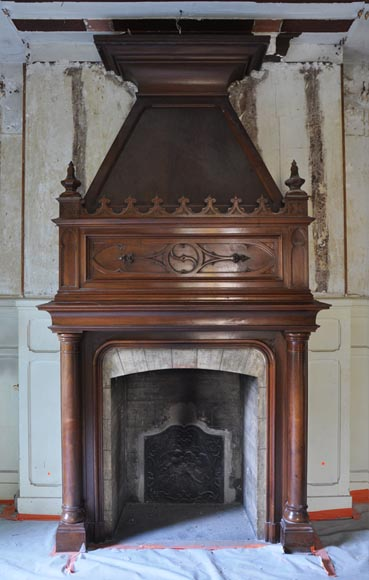 Large antique Neo-Gothic style fireplace made out of walnut wood-0