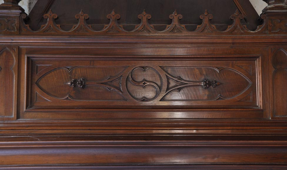 Large antique Neo-Gothic style fireplace made out of walnut wood-1