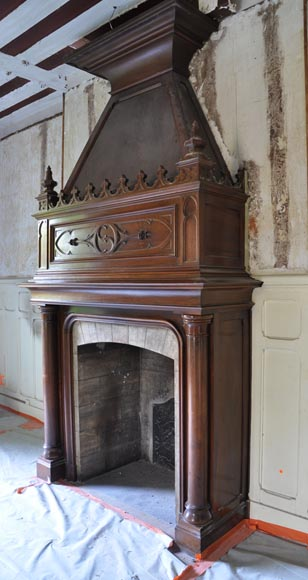 Large antique Neo-Gothic style fireplace made out of walnut wood-3