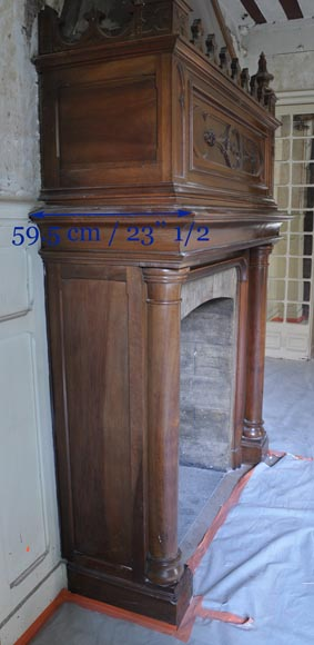 Large antique Neo-Gothic style fireplace made out of walnut wood-8