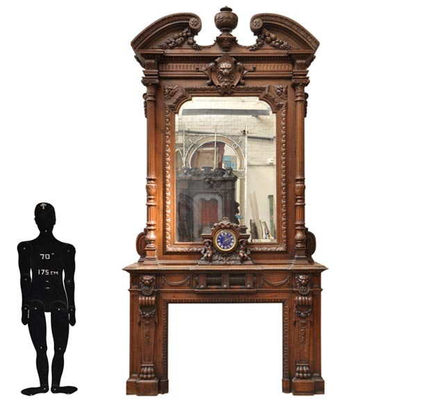 Extraordinary antique oak wood Napoleon III style fireplace with lion heads decoration - Reference 2256