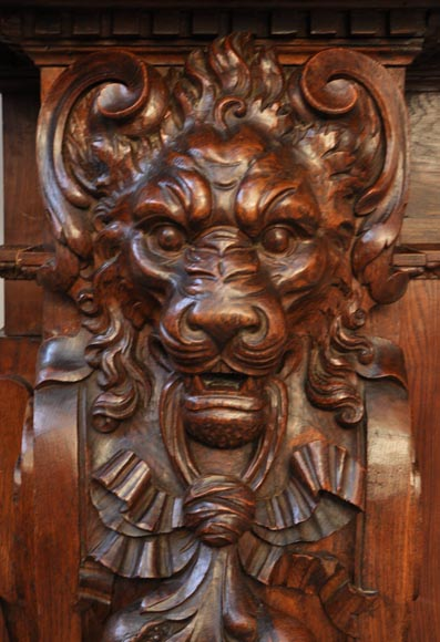 Large Antique Fireplace With Lions Heads Carved Out Of Oak
