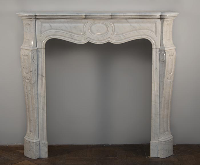 Antique Louis XV style fireplace, Pompadour model, made out of Carrara marble - Reference 2261