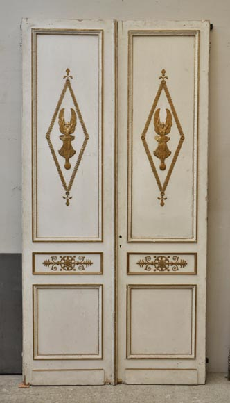 Antique oak double door painted, gilded and decorated with Winged Victories and mirrors-0