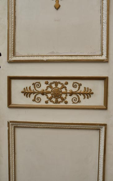 Antique Oak Double Door Painted Gilded And Decorated With