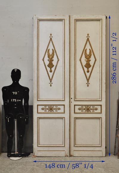 Antique oak double door painted, gilded and decorated with Winged Victories and mirrors-10