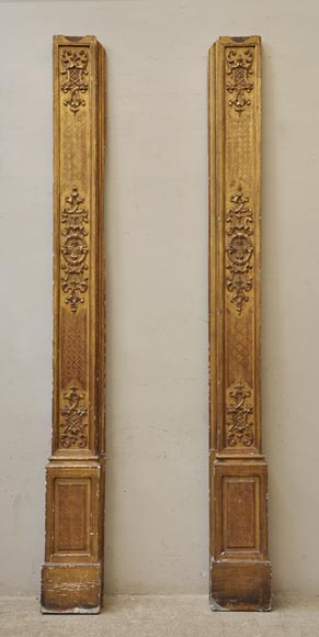 Pair of golden oak pilasters from the 18th century-0