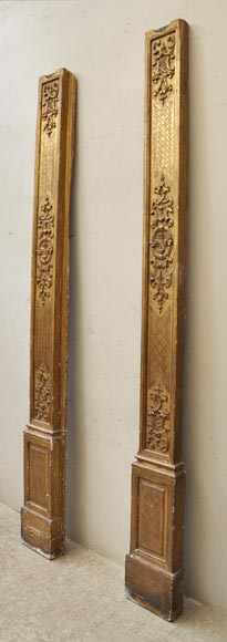 Pair of golden oak pilasters from the 18th century-1