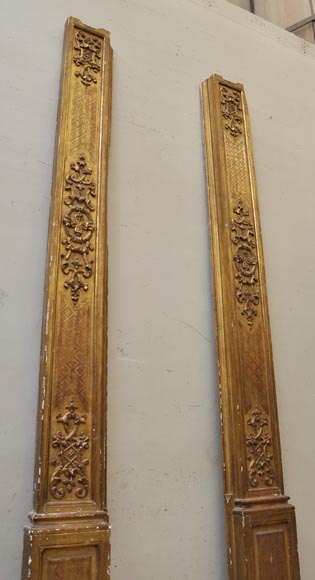Pair of golden oak pilasters from the 18th century-2