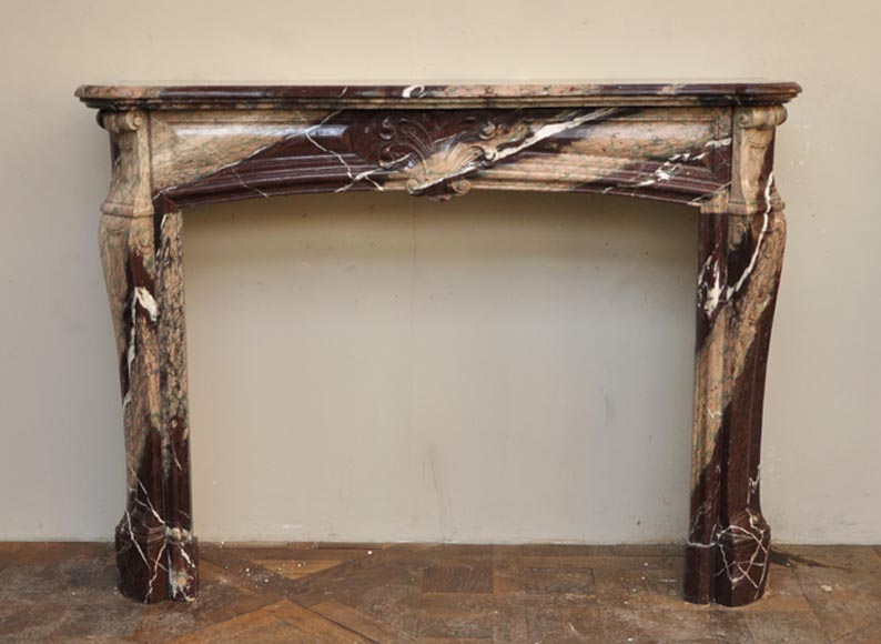 Antique Louis XV style fireplace made out of Campan Rubané marble-0