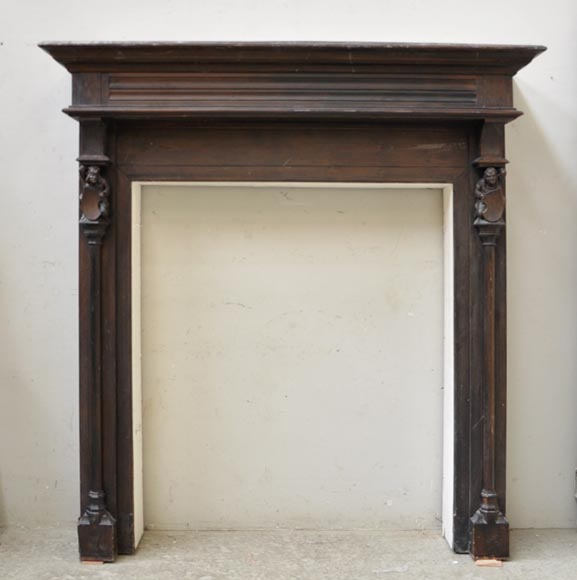 Antique Neo-gothic style wood fireplace with troubadours-0