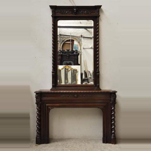 Large Oak Wood Louis Xiii Style Fireplace With Trumeau Mirror Wood