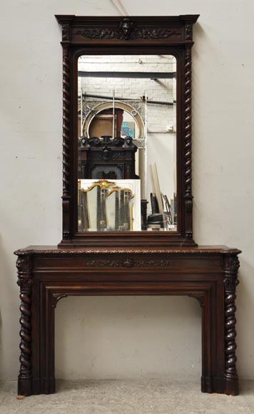 Large oak wood Louis XIII style fireplace with trumeau mirror-0