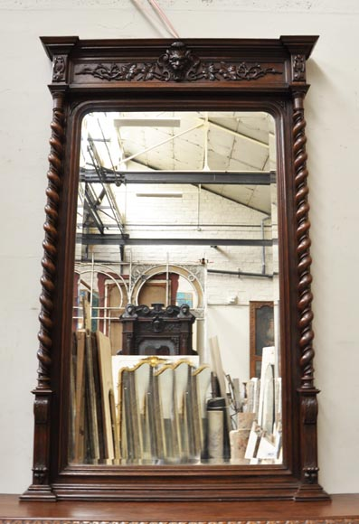 Large oak wood Louis XIII style fireplace with trumeau mirror-1