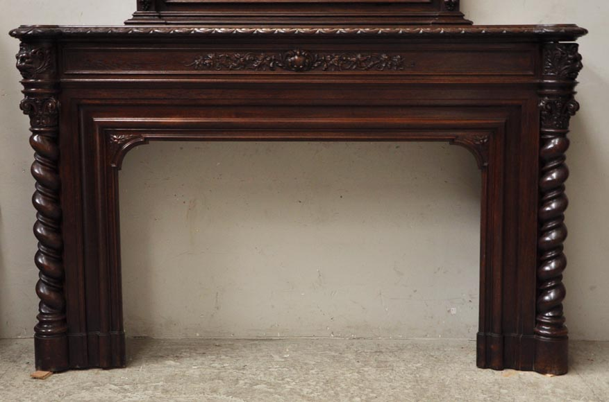 Large oak wood Louis XIII style fireplace with trumeau mirror-8