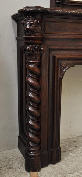 Large oak wood Louis XIII style fireplace with trumeau mirror-12