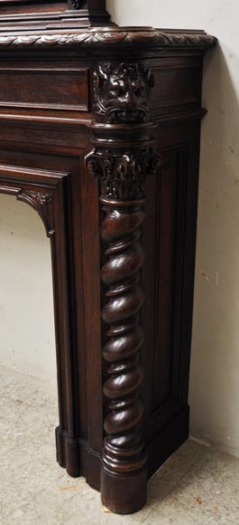 Large oak wood Louis XIII style fireplace with trumeau mirror-15