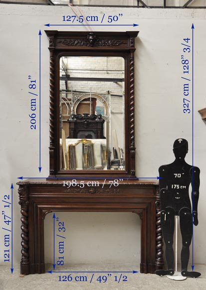 Large oak wood Louis XIII style fireplace with trumeau mirror-19