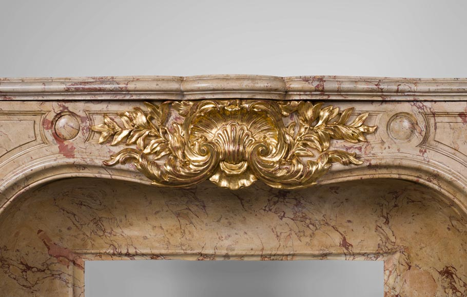 Prestigious antique fireplace in Scagliola as Sarrancolin Fantastico marble made after the fireplace of the Council Room at the Palace of Versailles-1