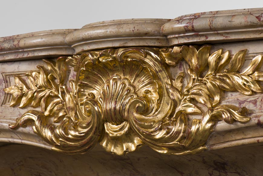 Prestigious antique fireplace in Scagliola as Sarrancolin Fantastico marble made after the fireplace of the Council Room at the Palace of Versailles-2
