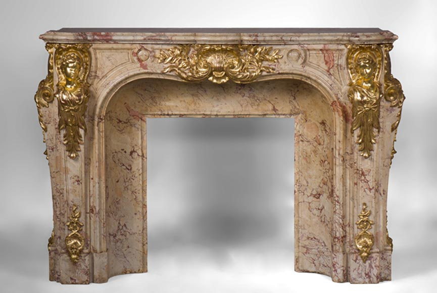 Prestigious antique fireplace in Scagliola as Sarrancolin Fantastico marble made after the fireplace of the Council Room at the Palace of Versailles-0
